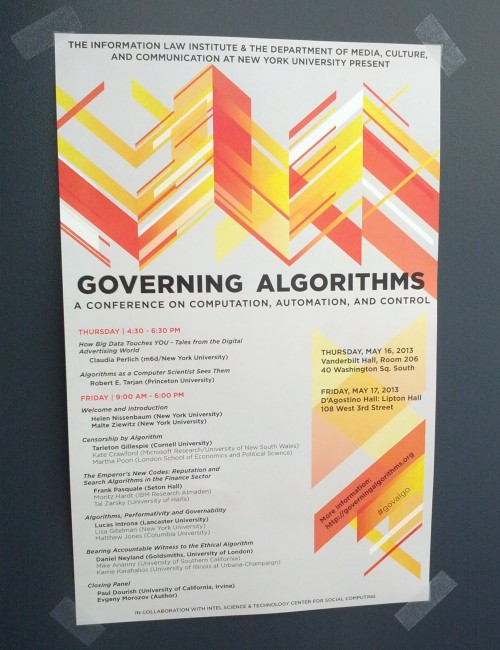 Governing Algorithms conference poster by Katie Jacoby